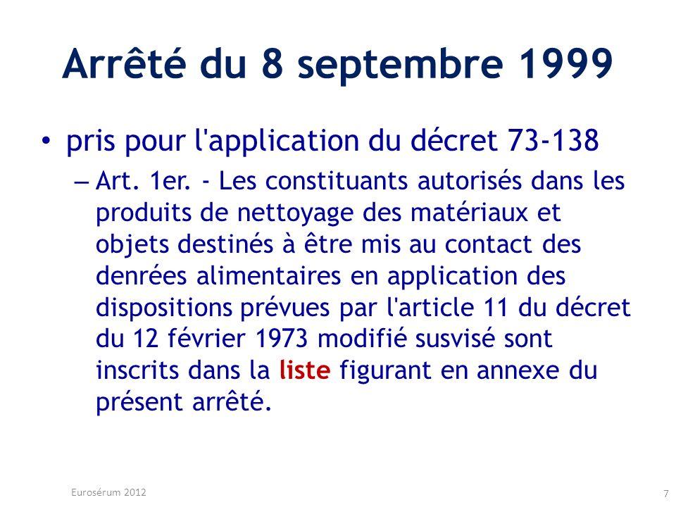 Arrêté du 8 septembre 1999 pris pour l'application du décret 73-138 – Art. 1er. - Les constituants autorisés dans les produits de nettoyage des matéri