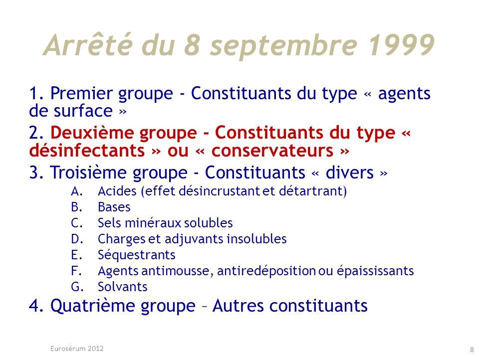 Arrêté du 8 septembre 1999 1. Premier groupe - Constituants du type « agents de surface » 2. Deuxième groupe - Constituants du type « désinfectants »