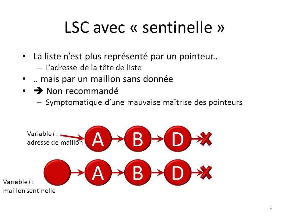 LSC avec « sentinelle » 1 La liste nest plus représenté par un pointeur.. – Ladresse de la tête de liste.. mais par un maillon sans donnée Non recomma