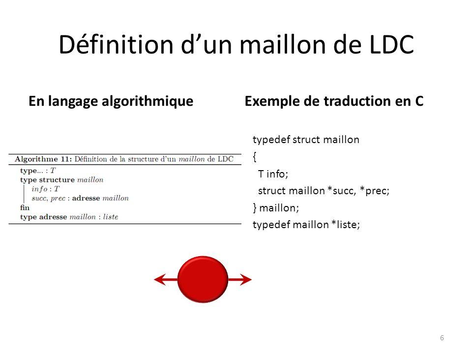 Définition dun maillon de LDC En langage algorithmiqueExemple de traduction en C 6 typedef struct maillon { T info; struct maillon *succ, *prec; } mai