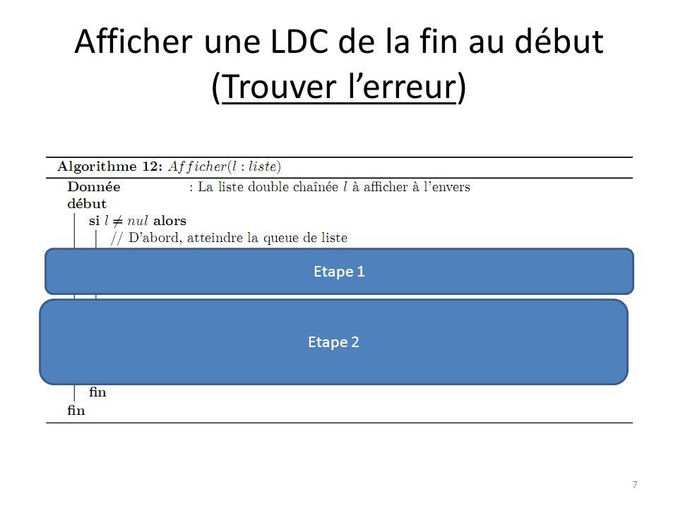 Afficher une LDC de la fin au début 8