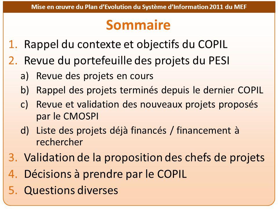 Mise en œuvre du Plan dEvolution du Système dInformation 2011 du MEF Liste des instructions par projet A10 : Le COPIL demande aux chefs de projets de faire un point précis d avancement de leur projet et de communiquer leur planning de travail ou leur plan d action.