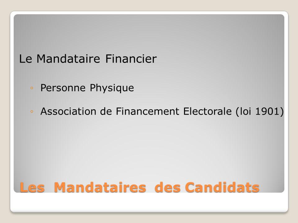 Les Mandataires des Candidats Le Mandataire Financier Personne Physique Association de Financement Electorale (loi 1901)