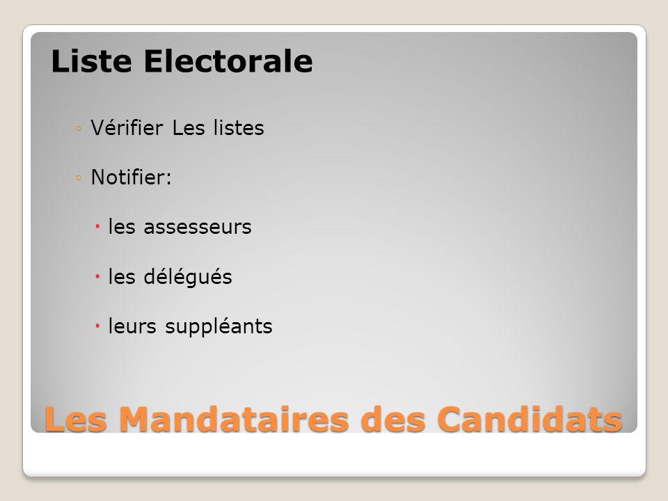 Les Mandataires des Candidats Liste Electorale Vérifier Les listes Notifier: les assesseurs les délégués leurs suppléants