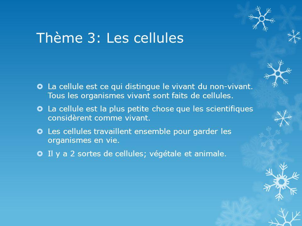 Thème 3: Les cellules La cellule est ce qui distingue le vivant du non-vivant. Tous les organismes vivant sont faits de cellules. La cellule est la pl