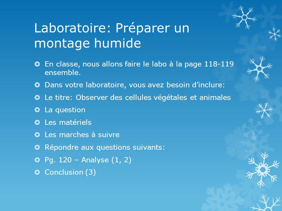 Laboratoire: Préparer un montage humide En classe, nous allons faire le labo à la page 118-119 ensemble. Dans votre laboratoire, vous avez besoin dinc
