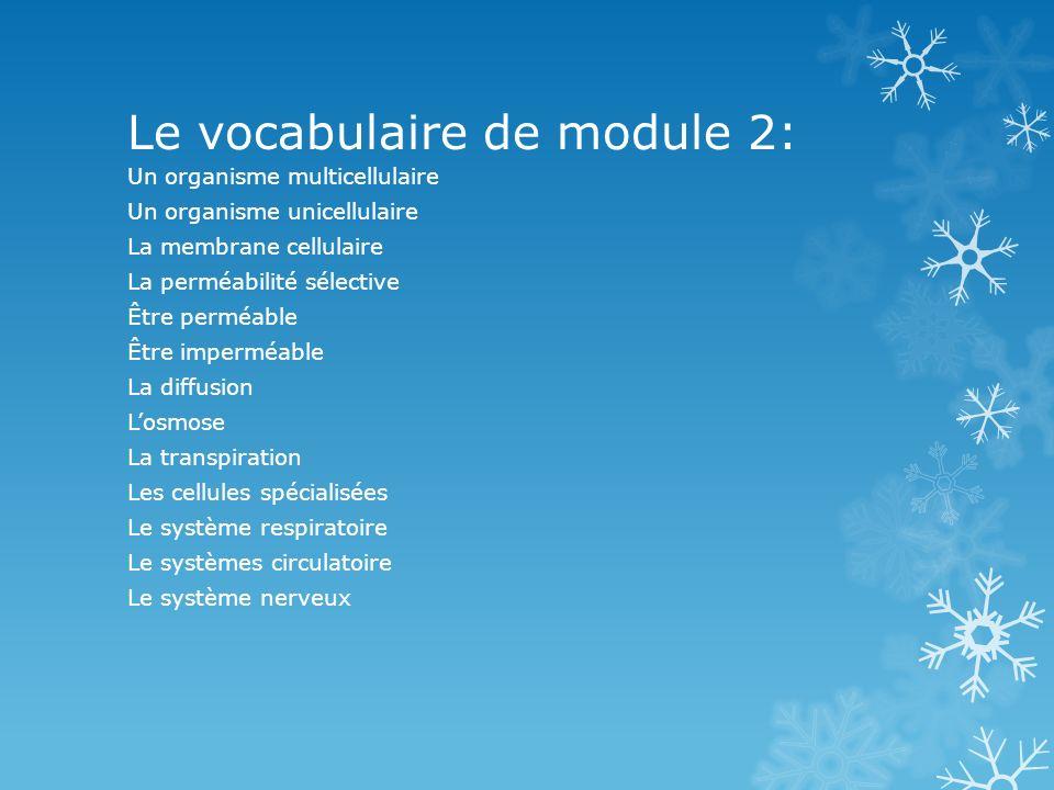 Le vocabulaire de module 2: Un organisme multicellulaire Un organisme unicellulaire La membrane cellulaire La perméabilité sélective Être perméable Êt