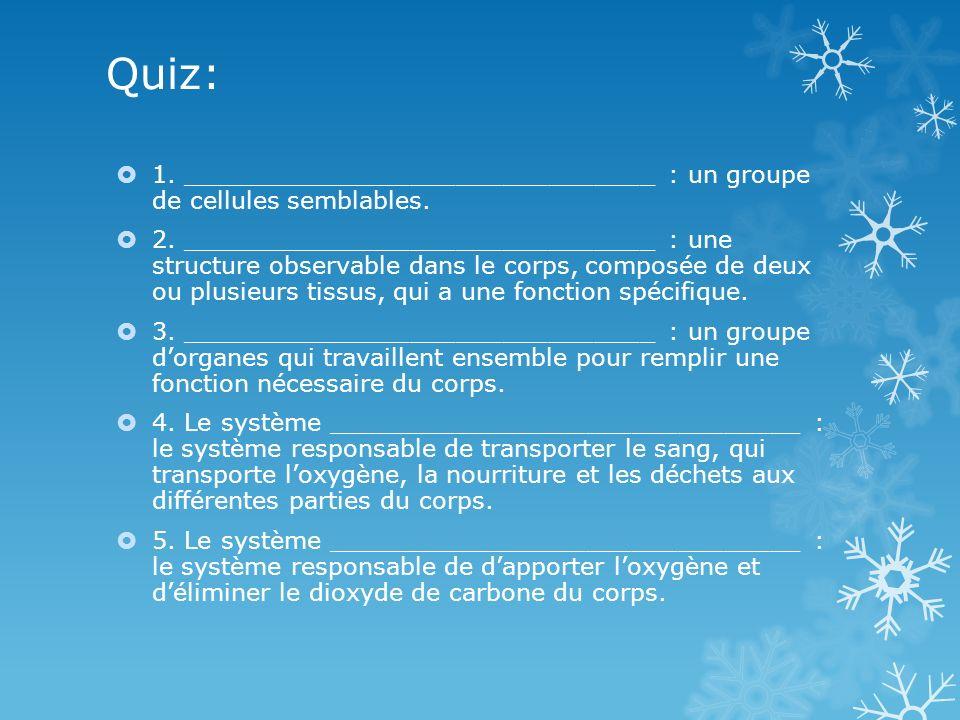 Quiz: 1. _______________________________ : un groupe de cellules semblables. 2. _______________________________ : une structure observable dans le cor