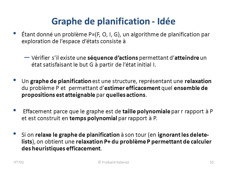 Graphe de planification - Idée Étant donné un problème P=(F, O, I, G), un algorithme de planification par exploration de lespace détats consiste à – V
