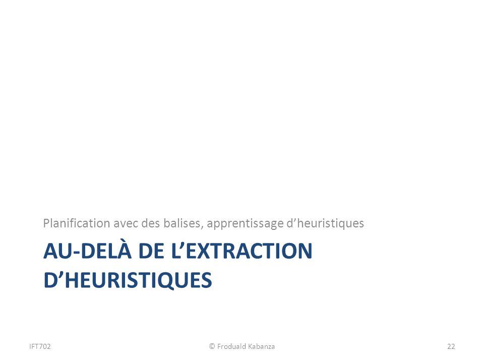 AU-DELÀ DE LEXTRACTION DHEURISTIQUES Planification avec des balises, apprentissage dheuristiques IFT702© Froduald Kabanza22