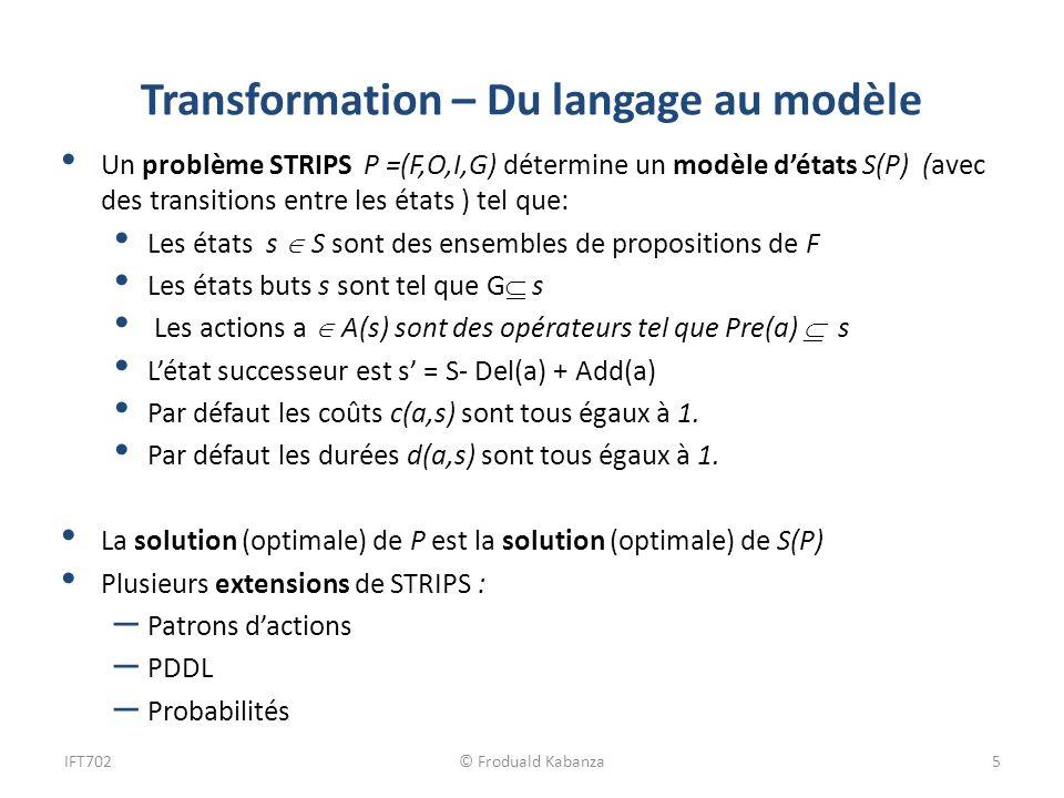 Transformation – Du langage au modèle Un problème STRIPS P =(F,O,I,G) détermine un modèle détats S(P) (avec des transitions entre les états ) tel que: