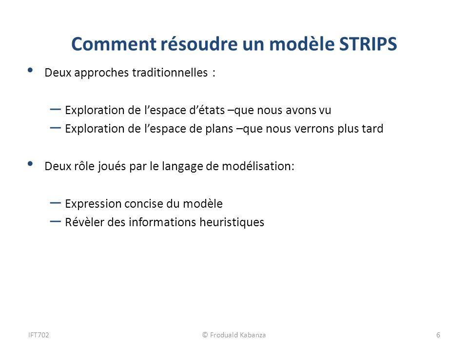 Comment résoudre un modèle STRIPS Deux approches traditionnelles : – Exploration de lespace détats –que nous avons vu – Exploration de lespace de plan
