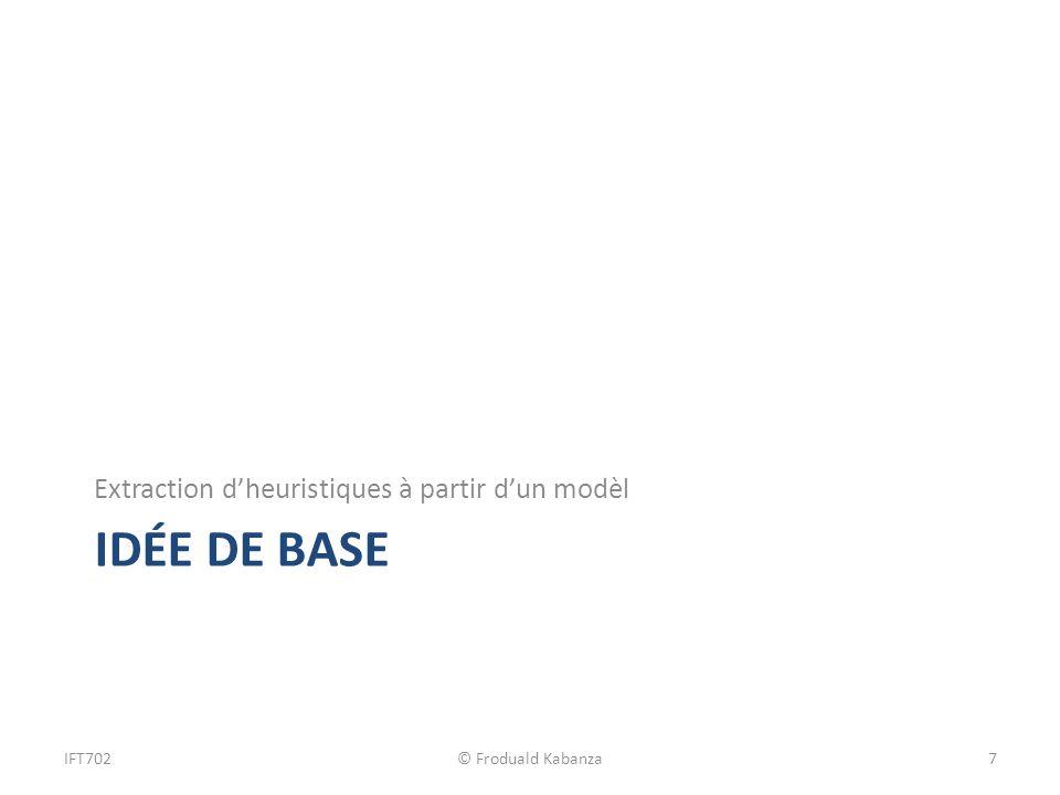 IDÉE DE BASE Extraction dheuristiques à partir dun modèl IFT702© Froduald Kabanza7