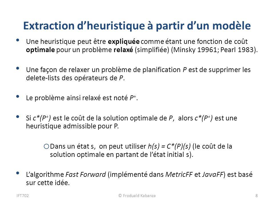 Extraction dheuristique à partir dun modèle Une heuristique peut être expliquée comme étant une fonction de coût optimale pour un problème relaxé (sim