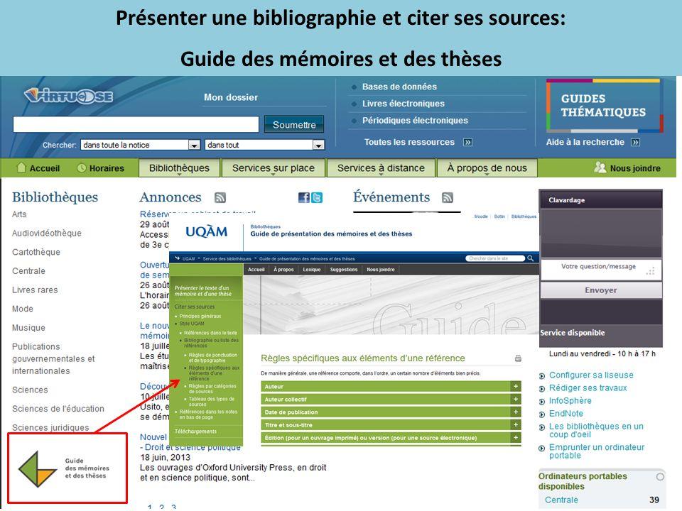 Présenter une bibliographie et citer ses sources: Guide des mémoires et des thèses