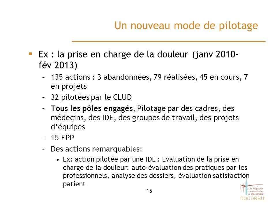 DQCORRU Un nouveau mode de pilotage Ex : la prise en charge de la douleur (janv 2010- fév 2013) –135 actions : 3 abandonnées, 79 réalisées, 45 en cour
