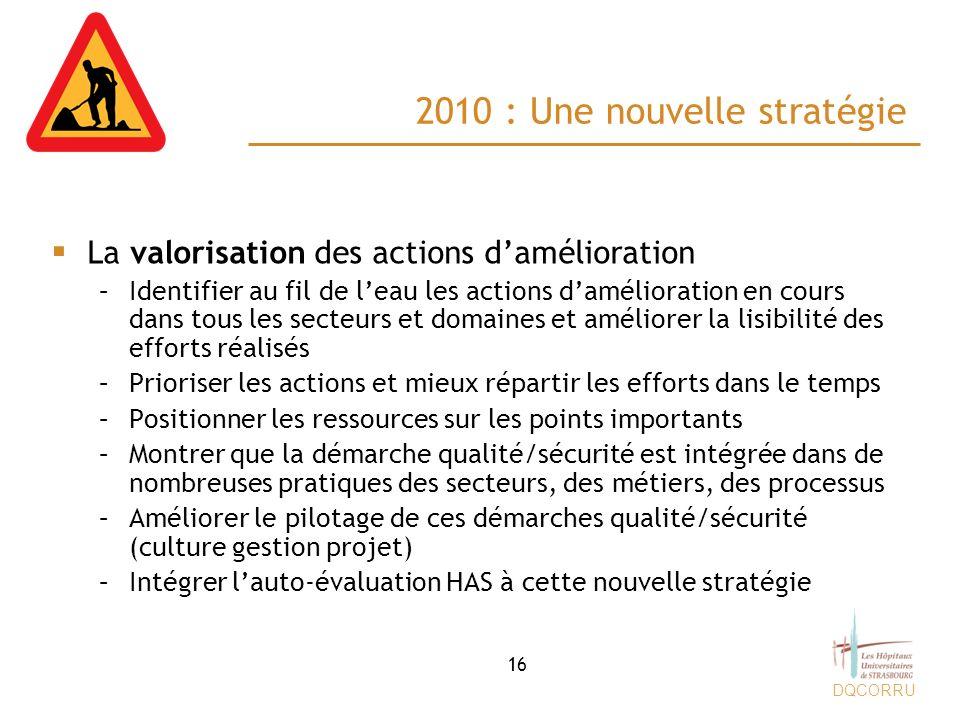 DQCORRU 2010 : Une nouvelle stratégie La valorisation des actions damélioration –Identifier au fil de leau les actions damélioration en cours dans tou