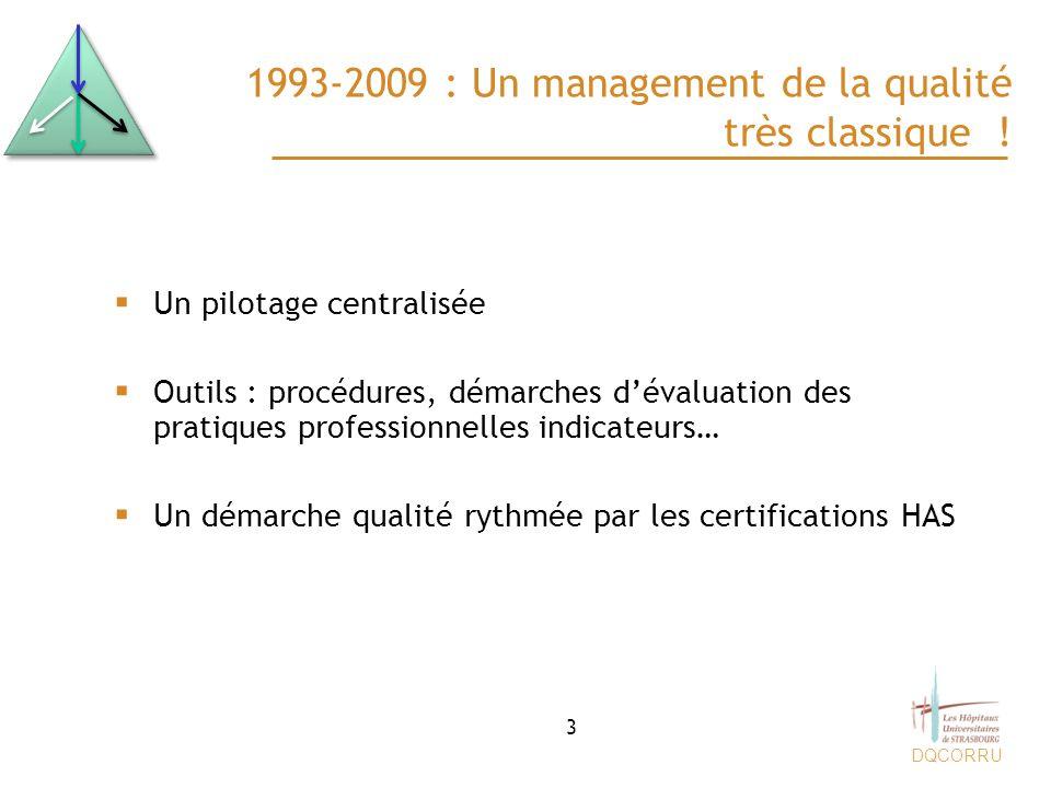 DQCORRU 1993-2009 : Un management de la qualité très classique ! Un pilotage centralisée Outils : procédures, démarches dévaluation des pratiques prof