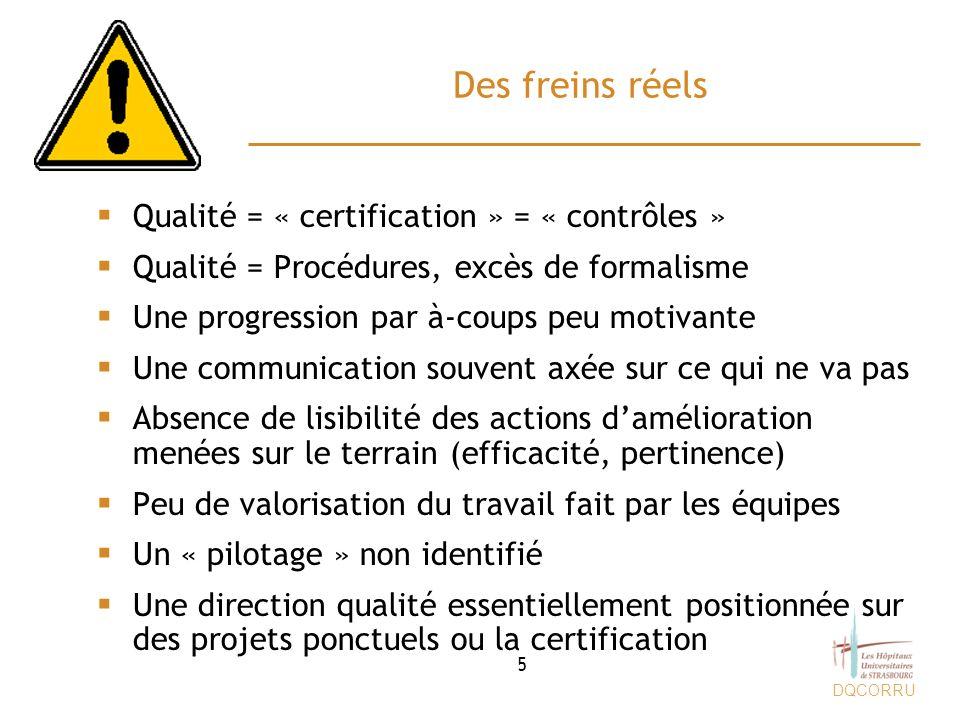 DQCORRU 2010 : Une nouvelle stratégie La valorisation des actions damélioration –Identifier au fil de leau les actions damélioration en cours dans tous les secteurs et domaines et améliorer la lisibilité des efforts réalisés –Prioriser les actions et mieux répartir les efforts dans le temps –Positionner les ressources sur les points importants –Montrer que la démarche qualité/sécurité est intégrée dans de nombreuses pratiques des secteurs, des métiers, des processus –Améliorer le pilotage de ces démarches qualité/sécurité (culture gestion projet) –Intégrer lauto-évaluation HAS à cette nouvelle stratégie 16