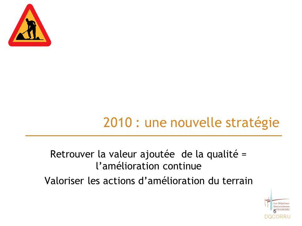 DQCORRU 2010 : une nouvelle stratégie Retrouver la valeur ajoutée de la qualité = lamélioration continue Valoriser les actions damélioration du terrai