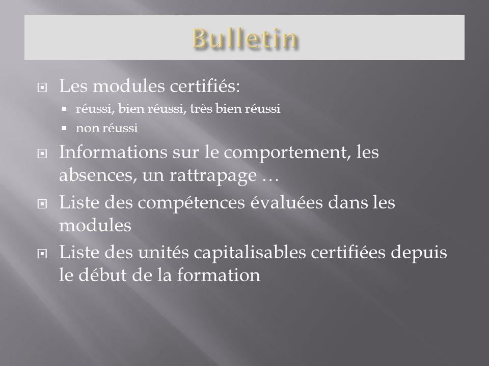 Les modules certifiés: réussi, bien réussi, très bien réussi non réussi Informations sur le comportement, les absences, un rattrapage … Liste des comp