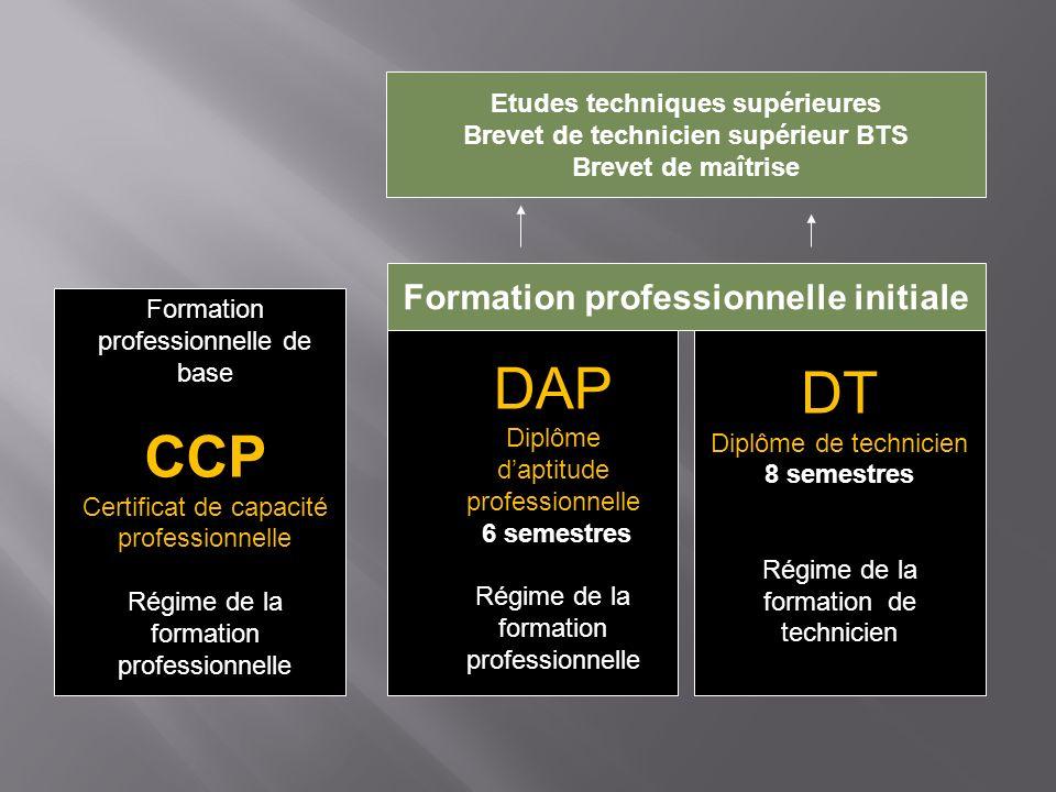 Formation professionnelle de base CCP Certificat de capacité professionnelle Régime de la formation professionnelle DAP Diplôme daptitude professionne