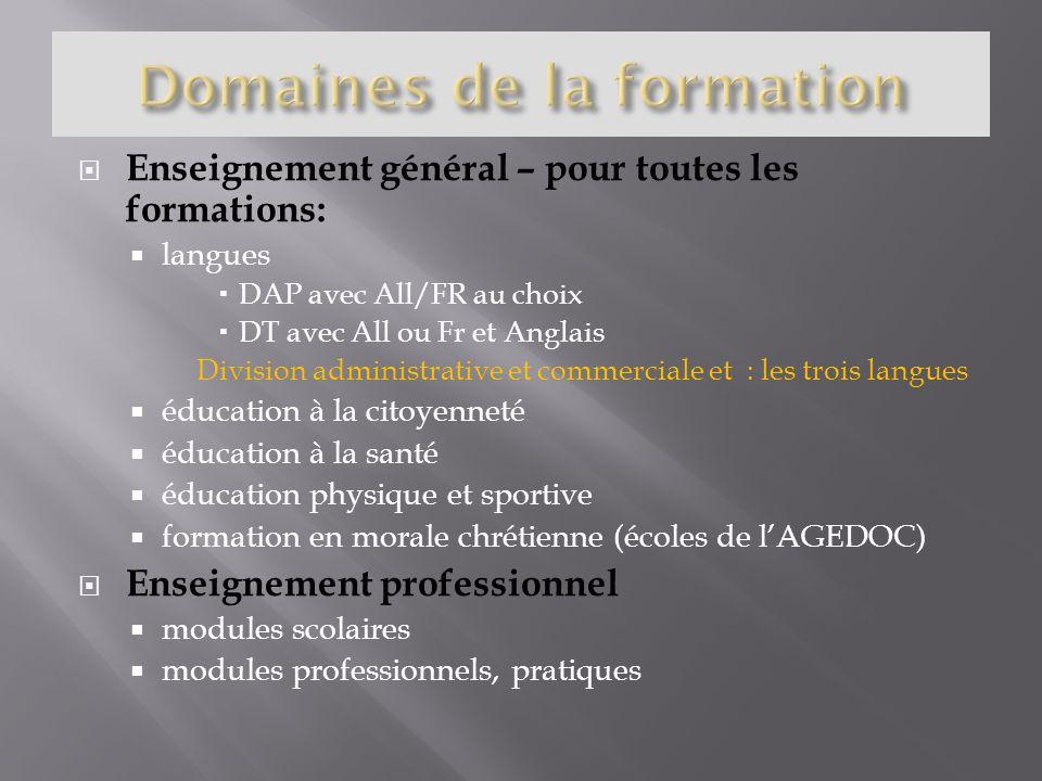 Enseignement général – pour toutes les formations: langues DAP avec All/FR au choix DT avec All ou Fr et Anglais Division administrative et commercial