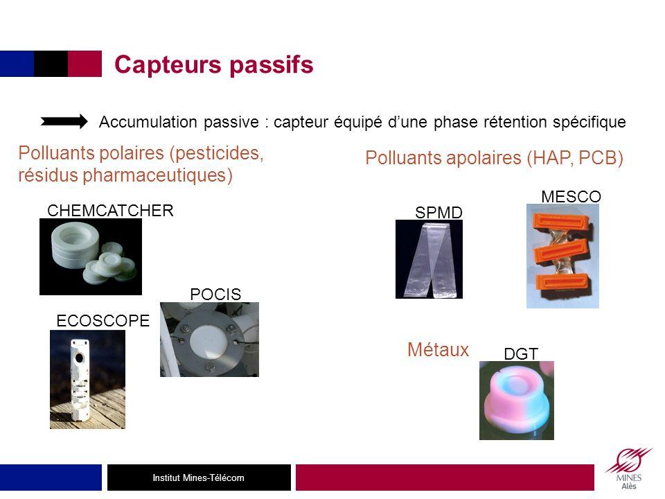 Institut Mines-Télécom Capteurs passifs SPMD POCIS MESCO ECOSCOPE CHEMCATCHER DGT Métaux Polluants apolaires (HAP, PCB) Polluants polaires (pesticides, résidus pharmaceutiques) Accumulation passive : capteur équipé dune phase rétention spécifique