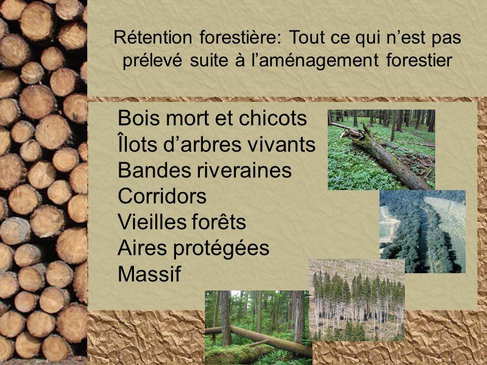 Rétention forestière: Tout ce qui nest pas prélevé suite à laménagement forestier Bois mort et chicots Îlots darbres vivants Bandes riveraines Corrido