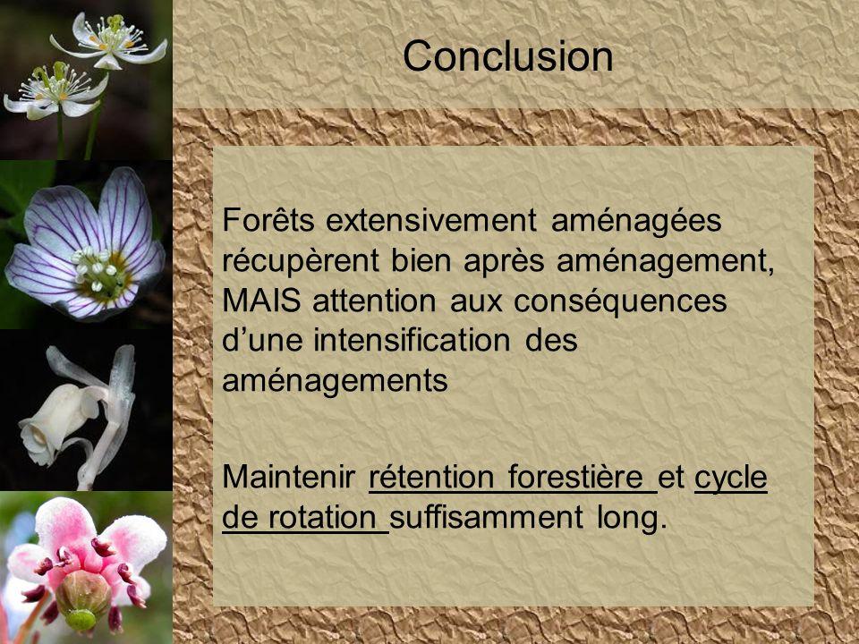 Forêts extensivement aménagées récupèrent bien après aménagement, MAIS attention aux conséquences dune intensification des aménagements Maintenir réte
