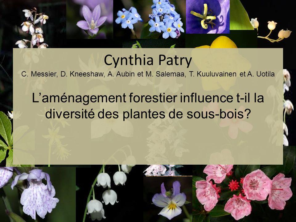 Cynthia Patry C. Messier, D. Kneeshaw, A. Aubin et M. Salemaa, T. Kuuluvainen et A. Uotila Laménagement forestier influence t-il la diversité des plan