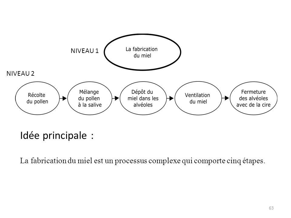 63 NIVEAU 1 NIVEAU 2 Idée principale : La fabrication du miel est un processus complexe qui comporte cinq étapes.