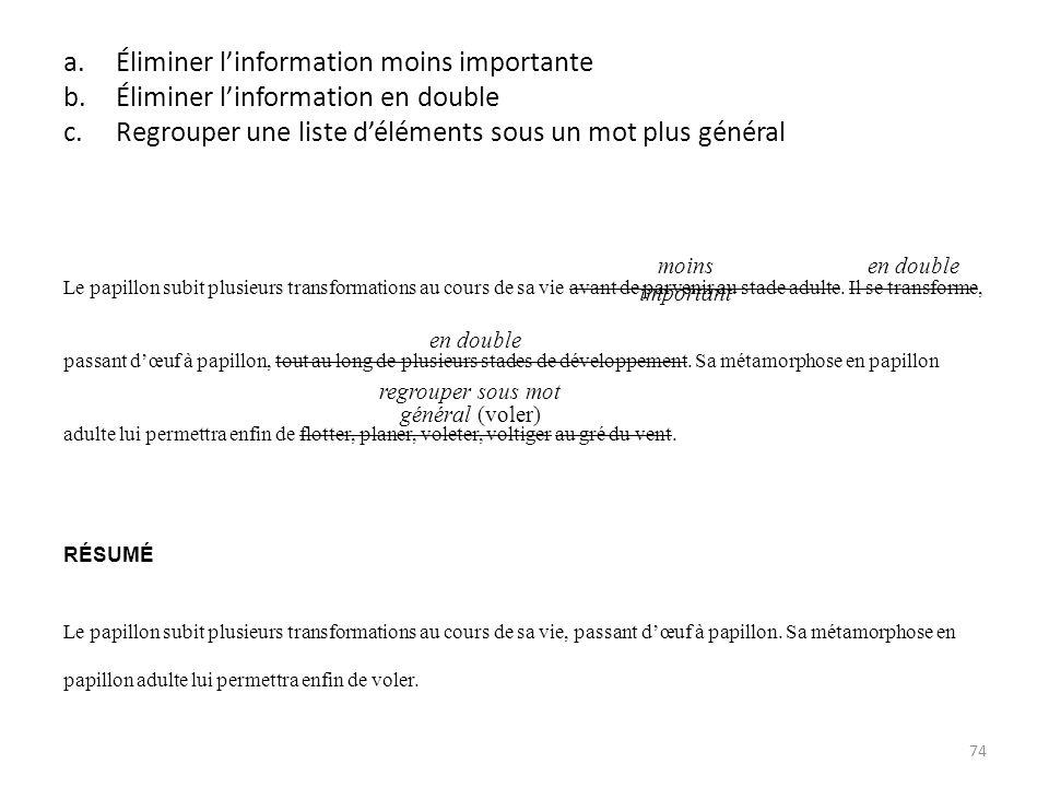 a.Éliminer linformation moins importante b.Éliminer linformation en double c.Regrouper une liste déléments sous un mot plus général Le papillon subit
