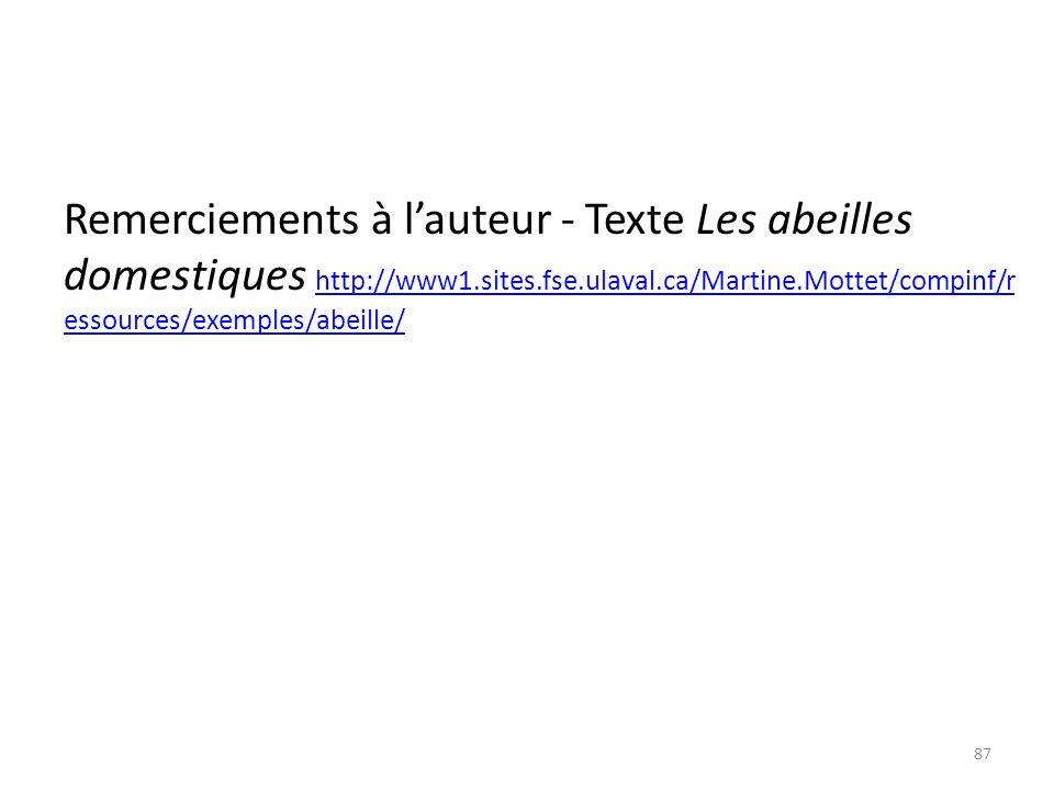 Remerciements à lauteur - Texte Les abeilles domestiques http://www1.sites.fse.ulaval.ca/Martine.Mottet/compinf/r essources/exemples/abeille/ http://w
