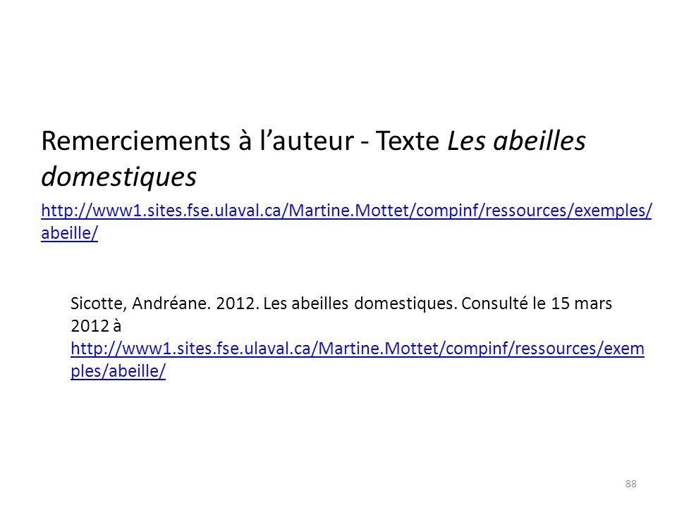Remerciements à lauteur - Texte Les abeilles domestiques http://www1.sites.fse.ulaval.ca/Martine.Mottet/compinf/ressources/exemples/ abeille/ Sicotte,