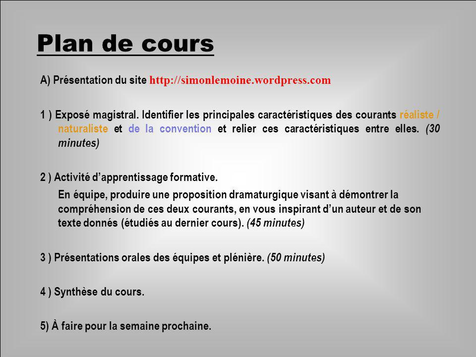 A) Présentation du site http://simonlemoine.wordpress.com 1 ) Exposé magistral. Identifier les principales caractéristiques des courants réaliste / na