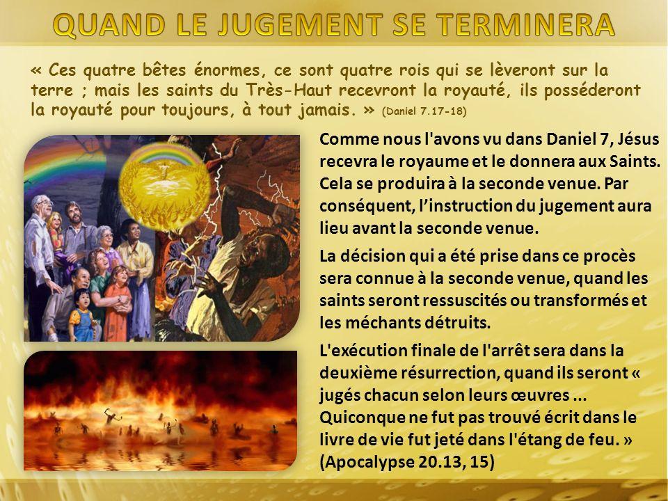 Comme nous l'avons vu dans Daniel 7, Jésus recevra le royaume et le donnera aux Saints. Cela se produira à la seconde venue. Par conséquent, linstruct