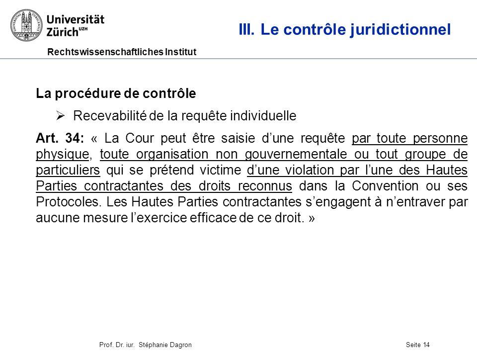 Rechtswissenschaftliches Institut Seite 15 III.