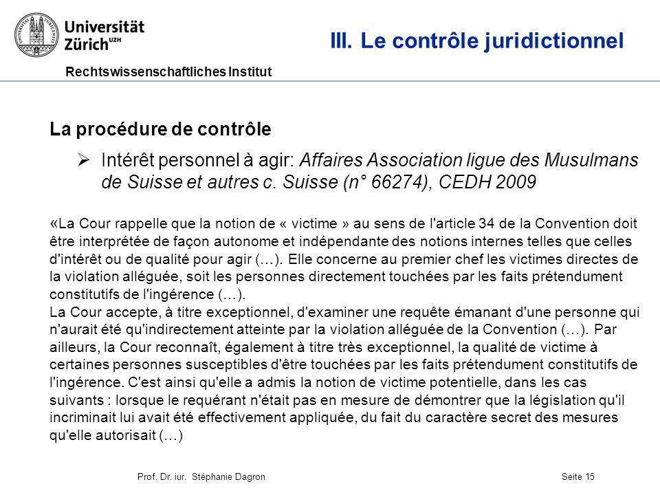 Rechtswissenschaftliches Institut Seite 16 III.