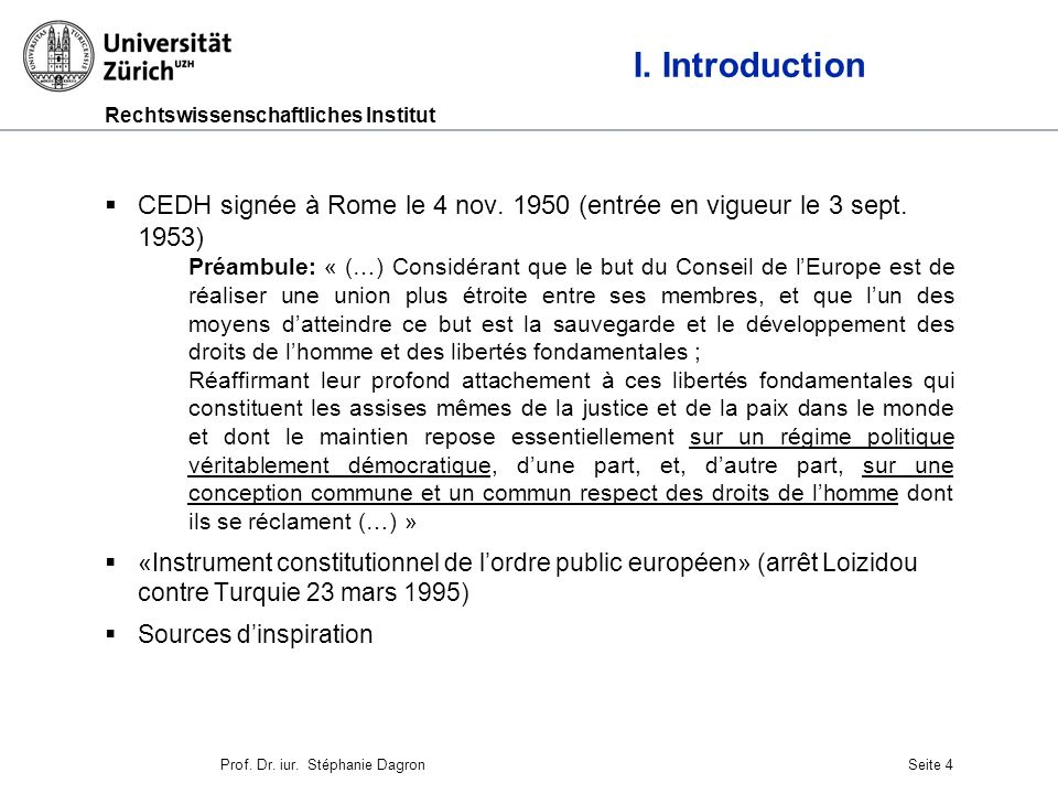 Rechtswissenschaftliches Institut Seite 5 II.