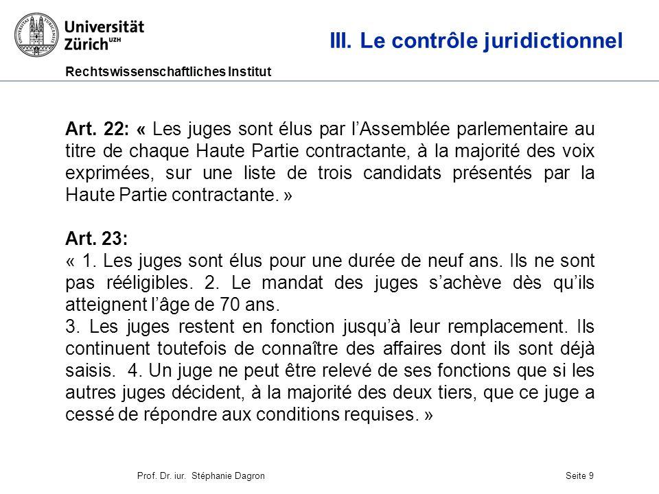 Rechtswissenschaftliches Institut Seite 10 III.