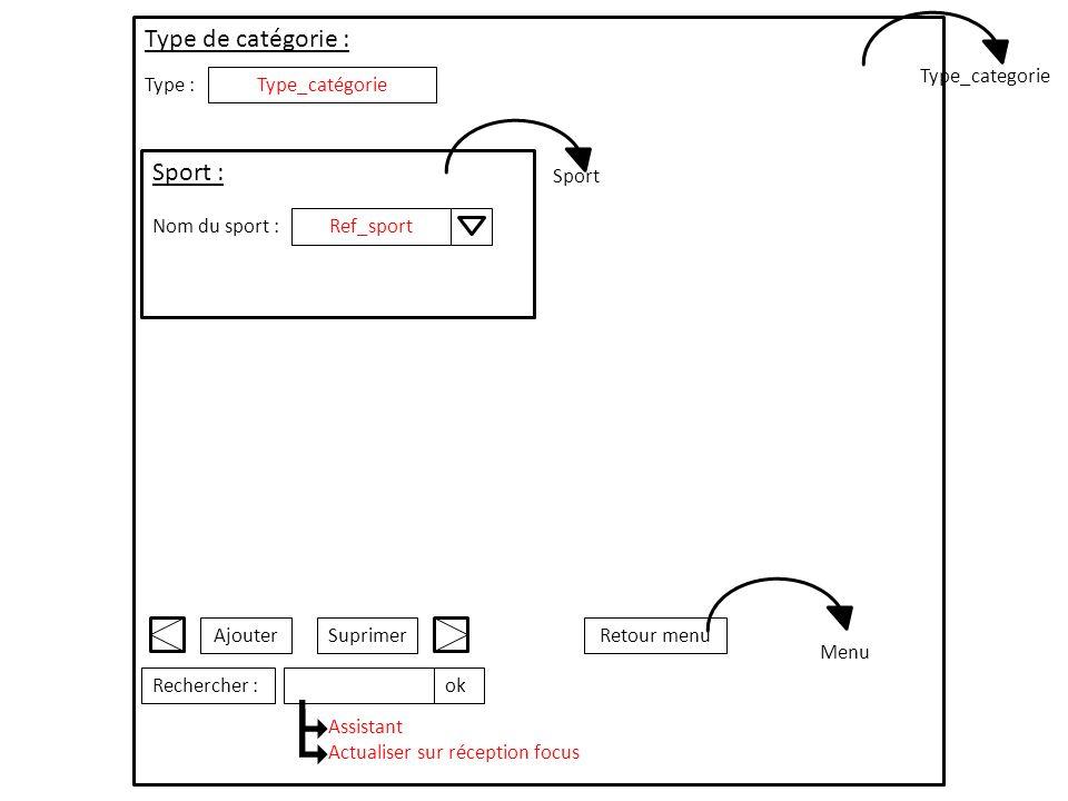 Type :Type_catégorie Sport : Nom du sport :Ref_sport Type de catégorie : SuprimerAjouterRetour menu Rechercher :ok Assistant Actualiser sur réception