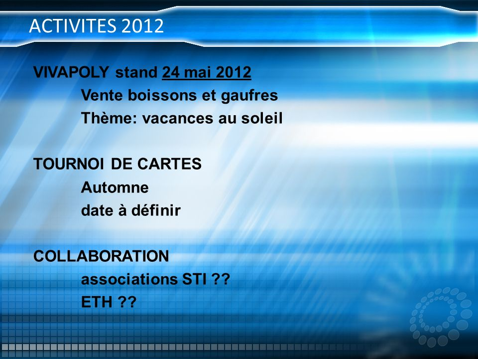 ACTIVITES 2012 VIVAPOLY stand 24 mai 2012 Vente boissons et gaufres Thème: vacances au soleil TOURNOI DE CARTES Automne date à définir COLLABORATION a