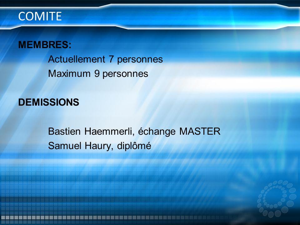 COMITE MEMBRES: Actuellement 7 personnes Maximum 9 personnes DEMISSIONS Bastien Haemmerli, échange MASTER Samuel Haury, diplômé