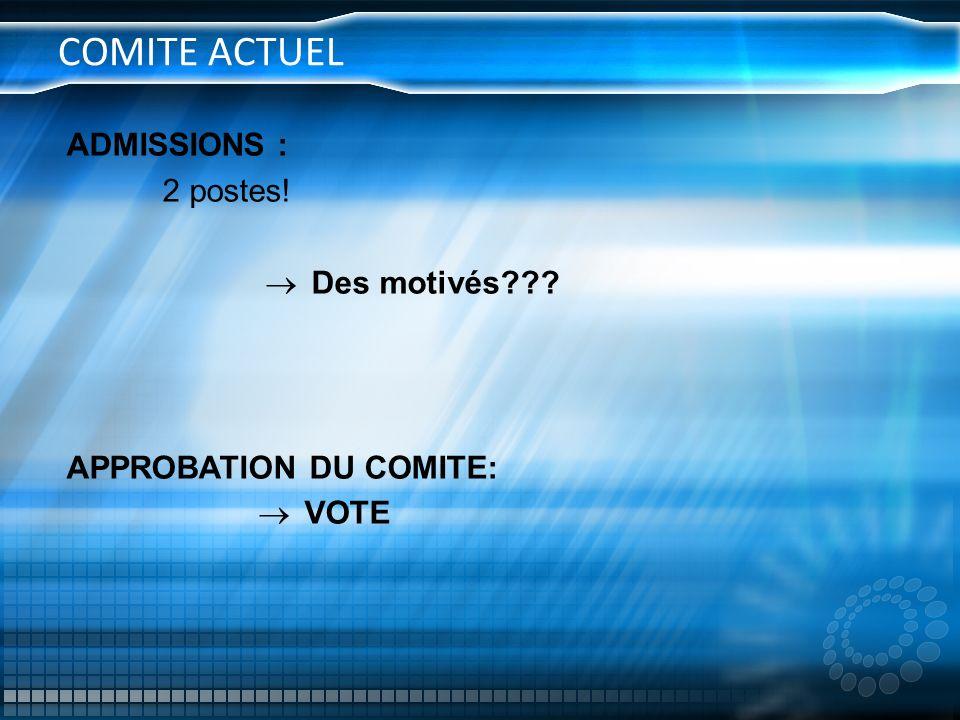 COMITE ACTUEL ADMISSIONS : 2 postes! Des motivés??? APPROBATION DU COMITE: VOTE