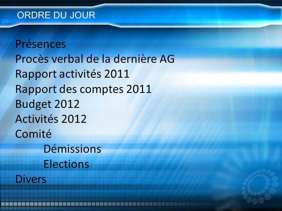 ORDRE DU JOUR Présences Procès verbal de la dernière AG Rapport activités 2011 Rapport des comptes 2011 Budget 2012 Activités 2012 Comité Démissions E