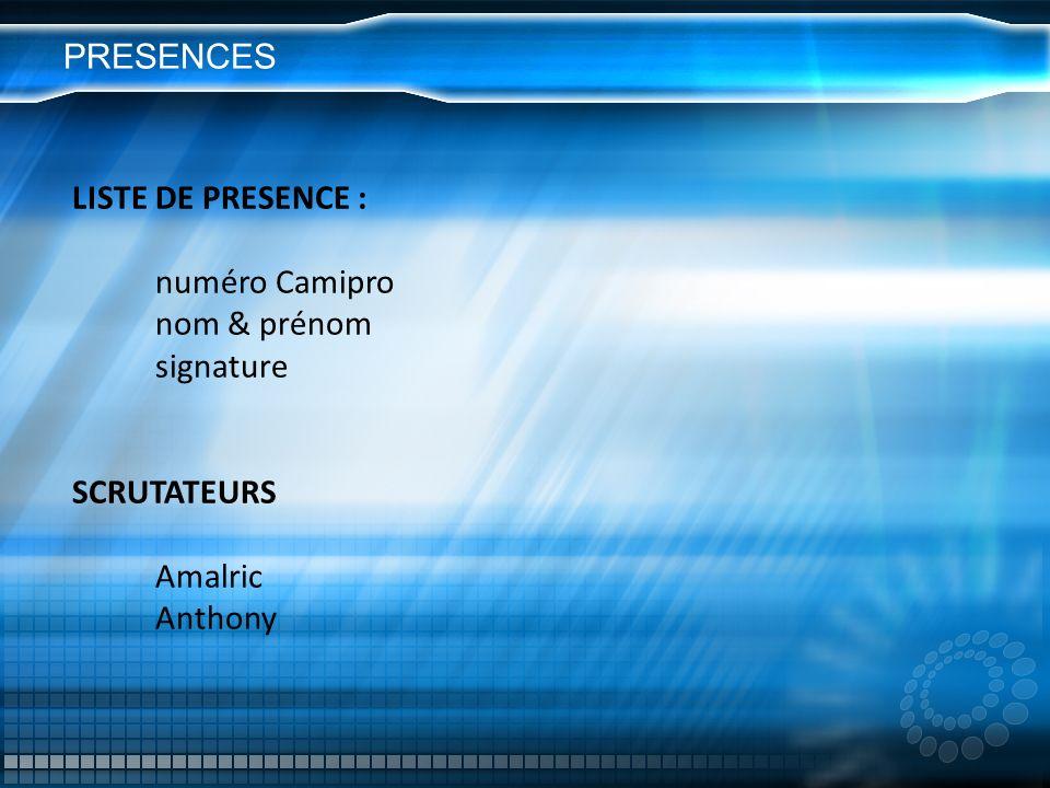 PRESENCES LISTE DE PRESENCE : numéro Camipro nom & prénom signature SCRUTATEURS Amalric Anthony