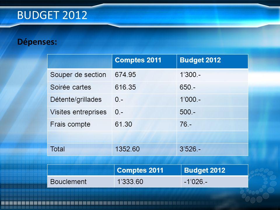 BUDGET 2012 Dépenses: Comptes 2011Budget 2012 Souper de section674.951300.- Soirée cartes616.35650.- Détente/grillades0.-1000.- Visites entreprises0.-