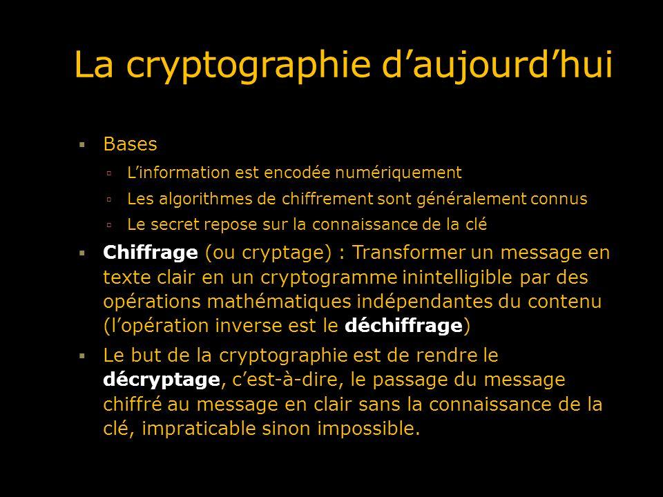La cryptographie daujourdhui Bases Linformation est encodée numériquement Les algorithmes de chiffrement sont généralement connus Le secret repose sur