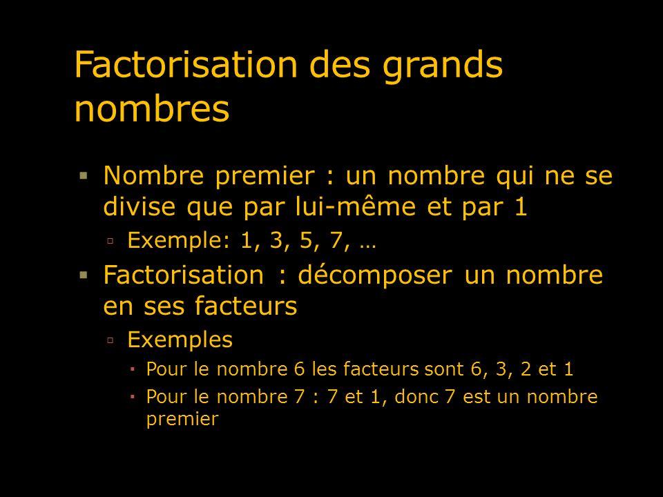 Factorisation des grands nombres Nombre premier : un nombre qui ne se divise que par lui-même et par 1 Exemple: 1, 3, 5, 7, … Factorisation : décompos